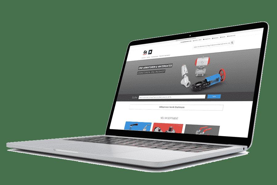 END-Armaturen Onlineshp auf Screen
